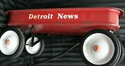 Vintage Red Wagon With Detroit News Logo On Side