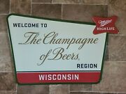 Miller High Life Beer The Champagne Of Beers Region Tin Advertising Sign New Mke