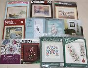 Lot Of 11 Crewel Embroidery Kits And Charts Elsa Williams Dimensions Cathy Bucilla