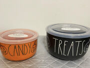 Rae Dunn Magenta Orange Treats And Candy Ceramic Food Storage Containers Dishes