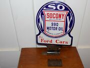 1900's Socony Lubester Paddle Two Sided Porcelain Sign W/ Bracket.