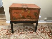 19th C Chinoisiere Painted Tole Metal Trunk Chest On Stand