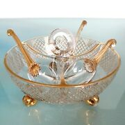 Antique French Cut Crystal Bowl Amazing Set Gilded Plus 3 Glass Spoons France