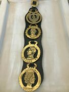 Antique Horse Brass Martingale Features 4 Horse Brass Of British Royal Family