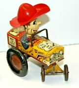 1950and039s Marx Milton Berle Crazy Car Tin/plastic Wind-up Toy Jalopy/works Fine