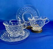 Fostoria American Footed Cup And Saucer Sets 2 Sets