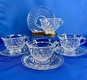Fostoria American Footed Cup And Saucer 4 Sets