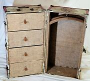 Vintage 1950's Doll Trunk Case Red Metal Trim 4 Drawers 2 Hangers For 18 Dolls