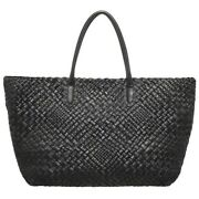 Nwt Falor Made In Italy Hand Made Lilla Leather Woven Large Tote Bag Black