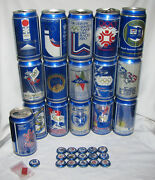 1988 Winter Olympics Collectible Beer Cans Bottle Caps Collector Lapel Pin 33pc