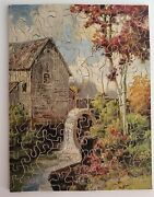 Vintage Zig-zag Wooden Jigsaw Puzzle 150 Pcs The Mill Stream Made In England
