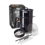 Vertical Smoker Large Steel Drum Charcoal Briquettes Meat Hooks Rod Grill