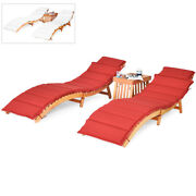 3pcs Wooden Folding Patio Lounge Chair Table Set Red/white Cushion Pad Pool Deck