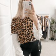 R13 Leopard Print Long Sleeve Thermal Shirt Brown Size Small