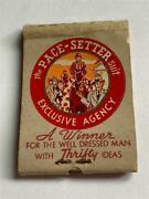 40's Shudde Bros Pace-setter Suit Houston Tx Feature W/4 Of 15 Matches Matchbook