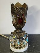 Vintage Moroccan Jeweled Brass Mantle Lustre Lamp With Prisms 11.5 Boudoir