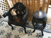 Antique 19c Japanese Wood Relief Dragon And Clouds Motif Carved Arm Chair And Table
