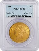 1904 20 Liberty Head Double Eagle Gold Pcgs Ms62 Uncirculated Coin
