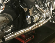 2003 Harley Softail Chrome Thunderheader 2-into-1 Exhaust Pipes System Listen