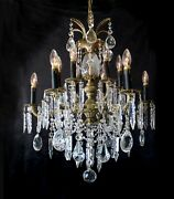 Exquisite 25 X 30 Vintage 12 Light Brass And Crystal Chandelier Spain
