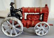 Antique Cast Iron Toy Tractor Ford / Fordson Red Vintage Farm Toys