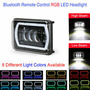 4x6 Led Headlights Lamps Remote Control Rgb Cree H4 Drl W/ Projector