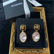 Auth Square Cc Logo Crystal Drop Clip On Earrings Black/gold B20 New F/s