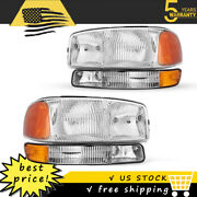 For 1999-2006 Gmc Sierra Yukon Xl Front Headlights Assembly + Bumper Lamps Pair