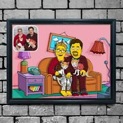 Simpsons Couch Cartoon Family Portrait Personalised Drawing A4 Print And Frame