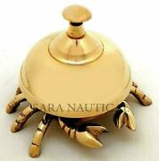 Vintage Antique Brass Crab Calling Bell Hotel Counter Reception 4 Inch Desk Bell