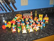 Fisher Price Little People Lot Of 37 People+27 Vehicles+planesbus Cars + More