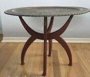 Antique Etched Metal Tray Wood Folding Side Table Mcm Middle Eastern