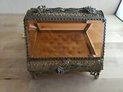 Antique Ormolu Gold Jewelry Casket Box Ornate Floral Large Amber Glass