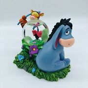 Disney Resin Eeyore And Tiger Catching The Butterfly Snow Globe Figurine