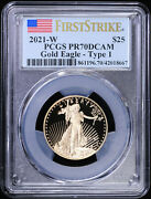 2021 W 1/2 Oz Type 1 Proof Gold Eagle 25 Pcgs Pr 70 Dcam   First Strike T1