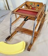 Rare Vintage 1940s Teek Wooden High Chair W/ Tray And Converts Into A Rocker Decal