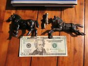 Antique C1900 Cast Iron Horses And Driver For Hubley Kenton Dent Arcade Toys