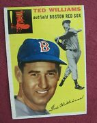 1954 Topps Baseball 250 Ted Williams, Of, Boston Red Sox