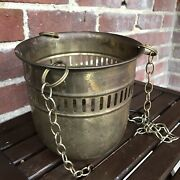 Vintage Brass Hanging Planter Flower Pot Boho Farmhouse Rustic Chains Included