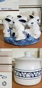 2potting Sheddedham Rabbit Bunnycenterpiece '93/bookends And Canister J17 96
