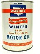 Vintage Allstate Compounded Winter Motor Oil Quart Can Sears Roebuck Full Nice