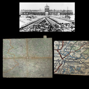Rare Wwii Holocaust German Auschwitz Transport Map Concentration Camp C.o.a.