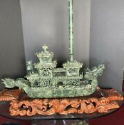 Big Chinese Carved Jade Dragon Boat With Wooden Stand 33andrdquo