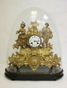 Antique French Gilt Bronze Clock With Glass Dome 14andrdquo H