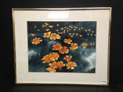 Watercolor Painting Of Orange Flowers Landscape By Donal C. Jolley