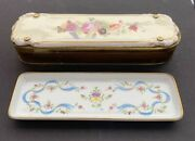 Antique Limoges Porcelain Pen Tray And Box Shirley Temple Estate 10andrdquo X 3andrdquo