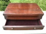 Vintage 1847 Rogers Silverware Flatware Mahogany Chest Case W/ Drawer Felt Lined
