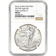 2021 W American Silver Eagle Type 2 - Ngc Ms69