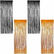 Halloween Party Decorations Foil Fringe Curtains 2 Colors 35 X 93 In 4 Pack