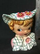 Vintage Lefton Little Girl Head Vase Planter With Hat And Flowers